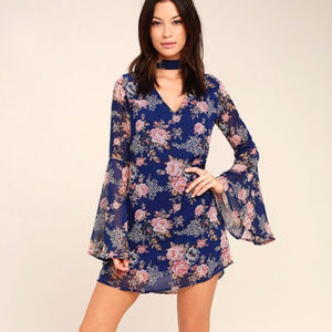 Lulu's Royal Blue Floral Print Shift Dress